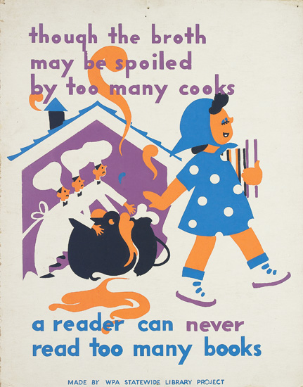 VARIOUS ARTISTS. [NURSERY RHYMES / WPA.] Group of 7 posters. Circa 1941. Sizes vary. Illinois WPA Art Project, Chicago.