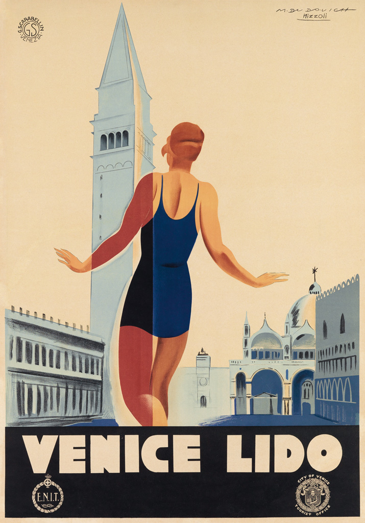 MARCELLO DUDOVICH (1878-1962) & MARCELLO NIZZOLI (1887-1960). VENICE LIDO. Circa 1930. 38x27 inches, 96x68 cm. G. Scarabellin, Venice.