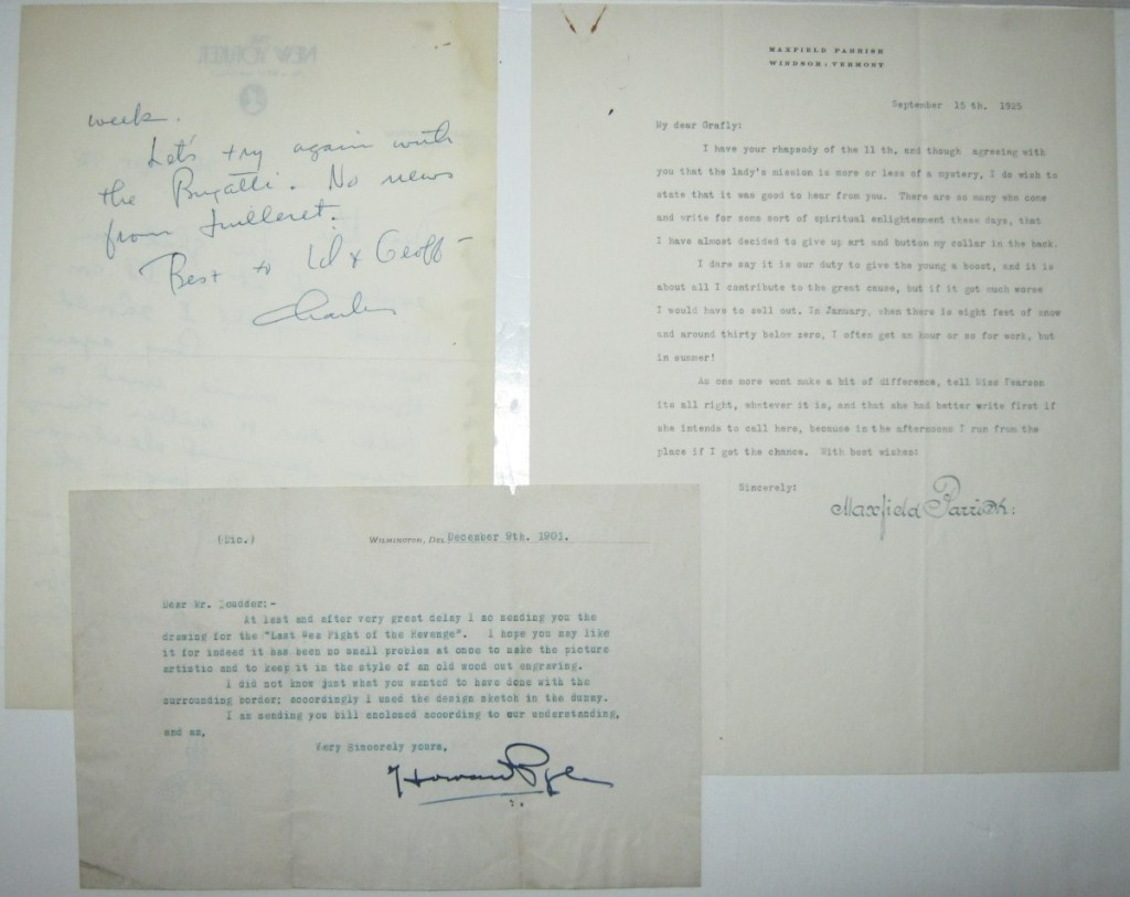 (ARTISTS)-Three-letters-each-Signed-by-a-20th-century-illust