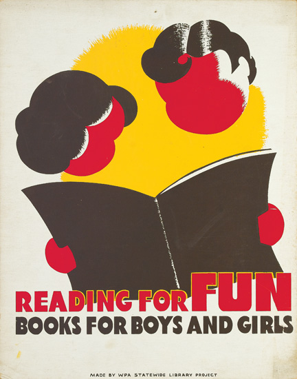 DESIGNER UNKNOWN. [BOOKS & READING / WPA.] Group of 4 posters. Circa 1940. Sizes vary. Illinois WPA, Statewide Library Project.
