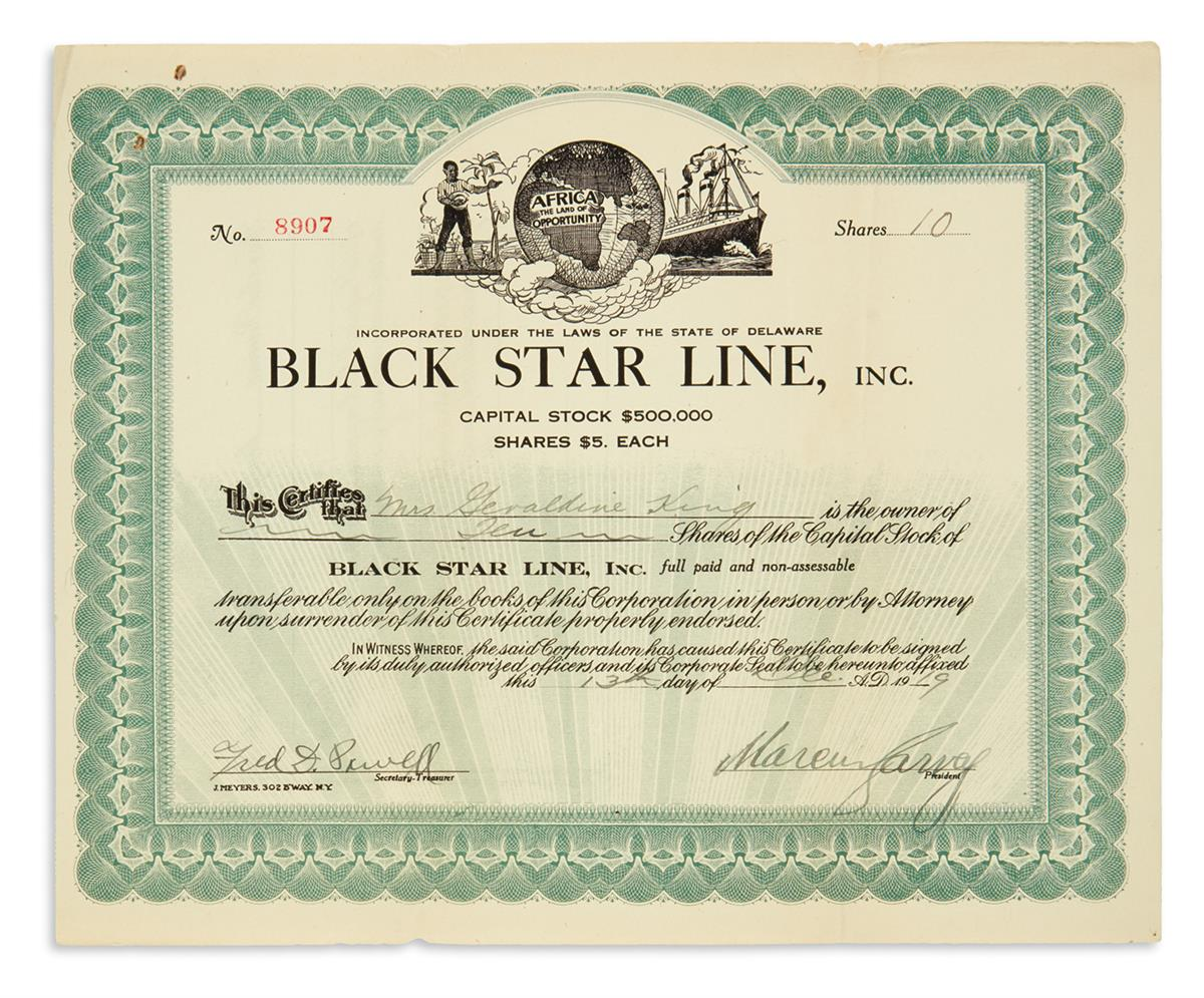 GARVEY, MARCUS. Signed stock certificate for 10 shares of common stock in the Black Star Line,