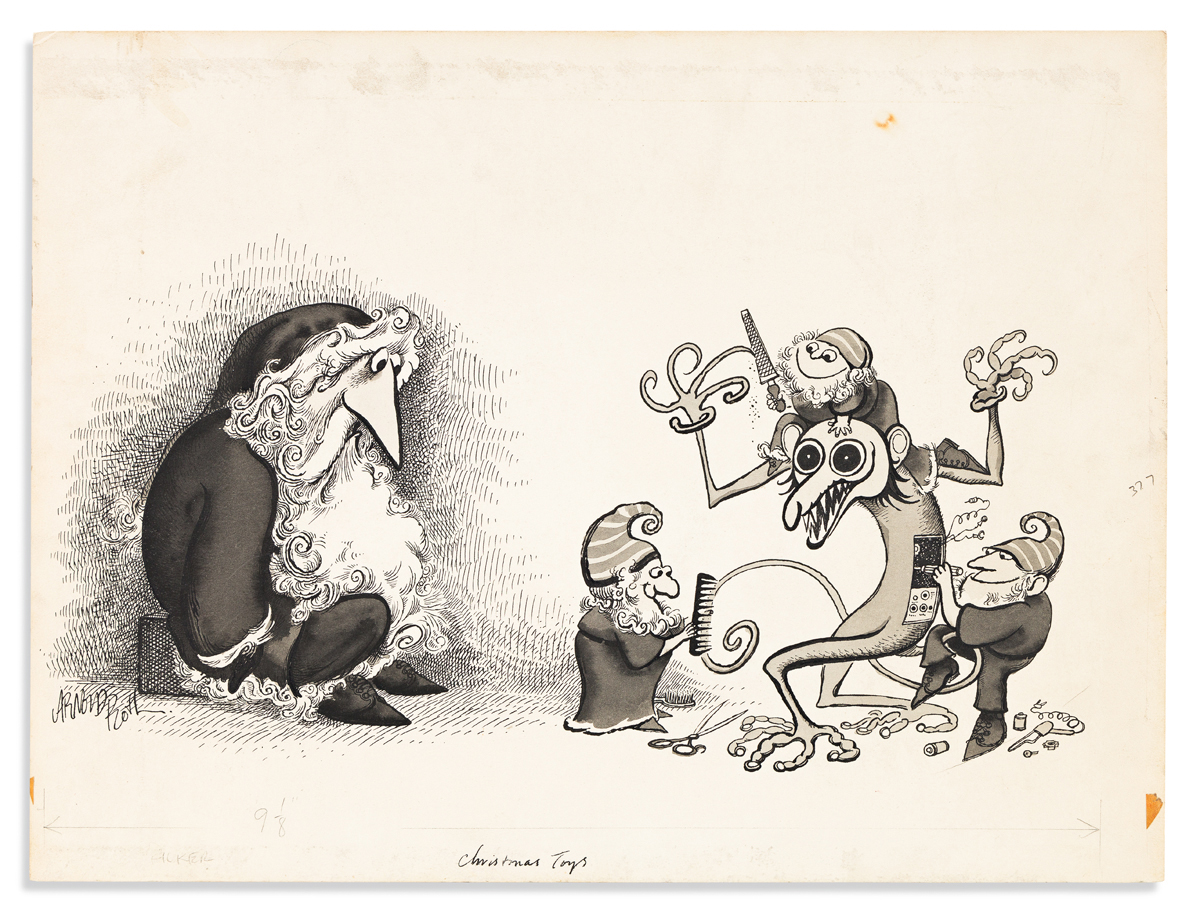 ROTH, ARNOLD. Four items: Illustrated Autograph Letter Signed, Arnold * Group of three ink and wash drawings, each Signed.