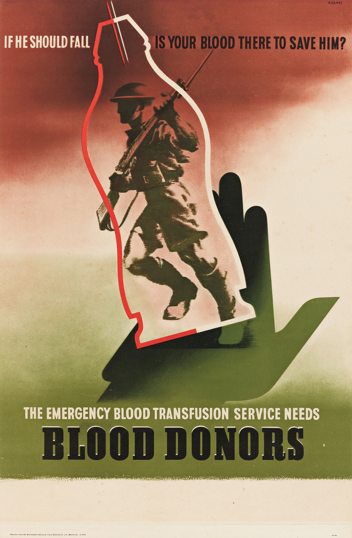 ABRAM GAMES (1914-1996).  THE EMERGENCY BLOOD TRANSFUSION SERVICE NEEDS BLOOD DONORS. 1943. 29¼x19¼ inches, 74¼x49¾ cm. Field Sons & Co