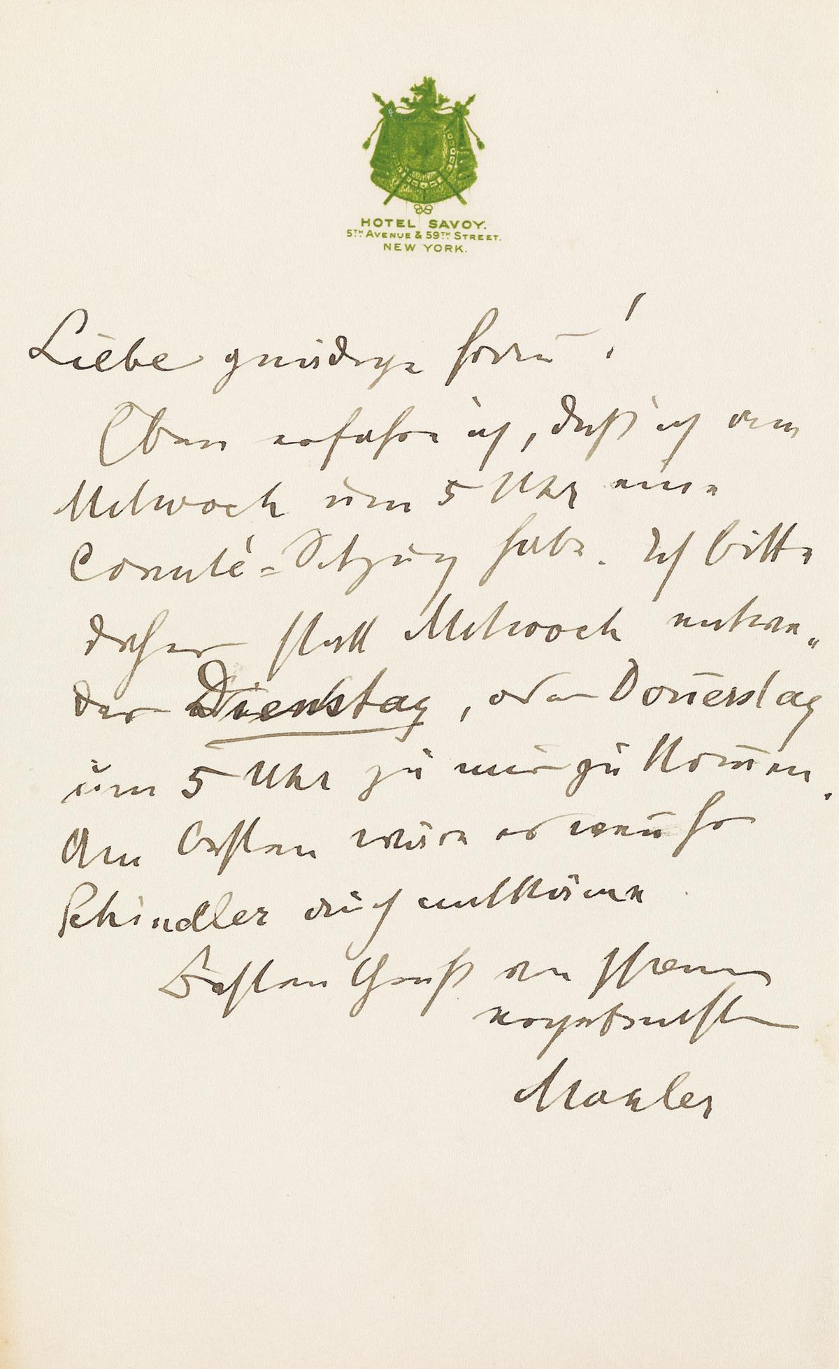 MAHLER IN NEW YORK GUSTAV MAHLER. Autograph Letter Signed, Mahler, to Dear esteemed Madam, in German,...