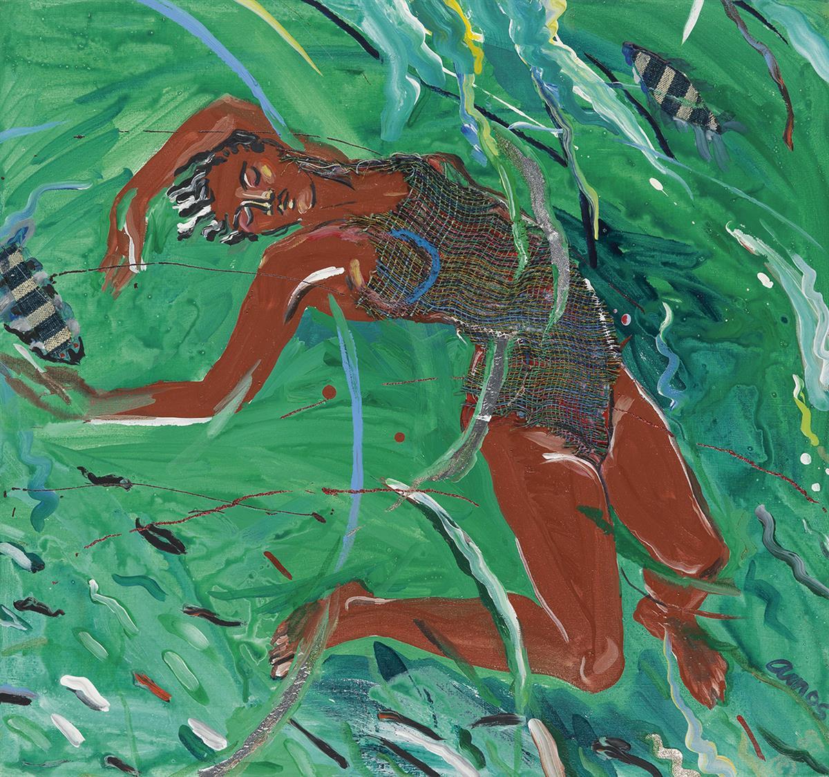 EMMA AMOS (1938 -   ) Arched Swimmer.