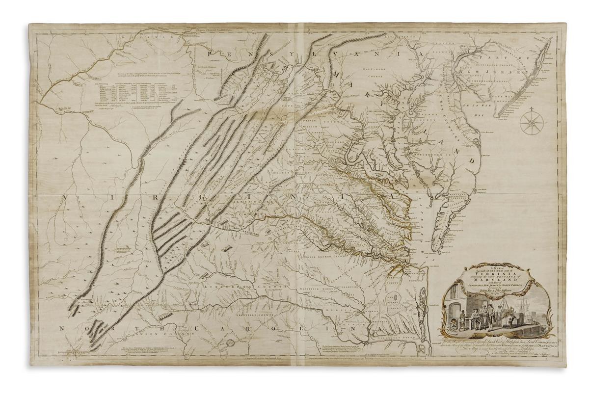 FRY, JOSHUA; and JEFFERSON, PETER. A Map of the Most Inhabited Part of Virginia