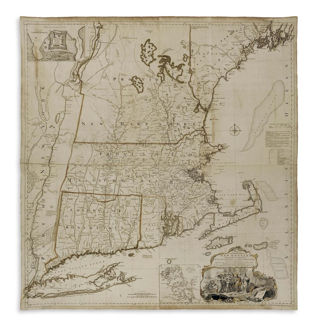 MEAD, BRADDOCK, alias GREEN, JOHN. A Map of the Most Inhabited Part of New England