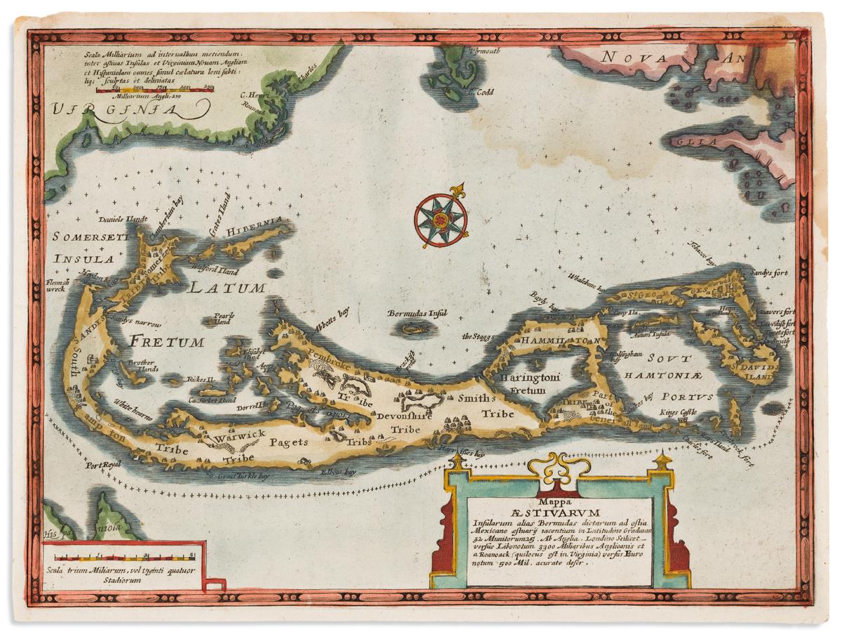 (BERMUDA.) du Sauzet, Henri. Mappa Aestivarum.