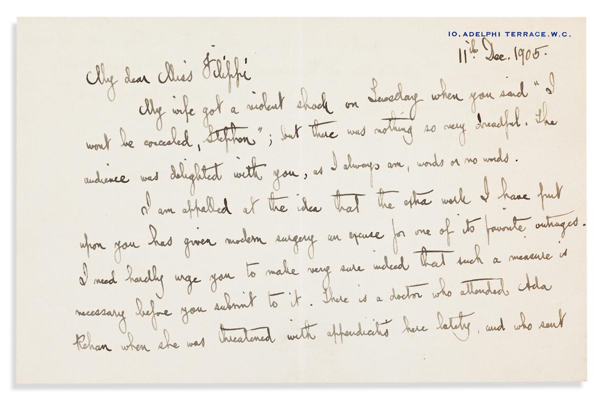 SHAW, GEORGE BERNARD. Autograph Letter Signed, G. Bernard Shaw, to the actress Miss [Rosina] Filippi,