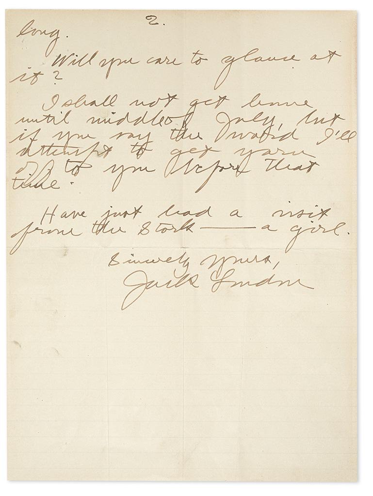 LONDON, JACK. Autograph Letter Signed, to bibliographer Merle Johnson (Dear Mr. Johnson),