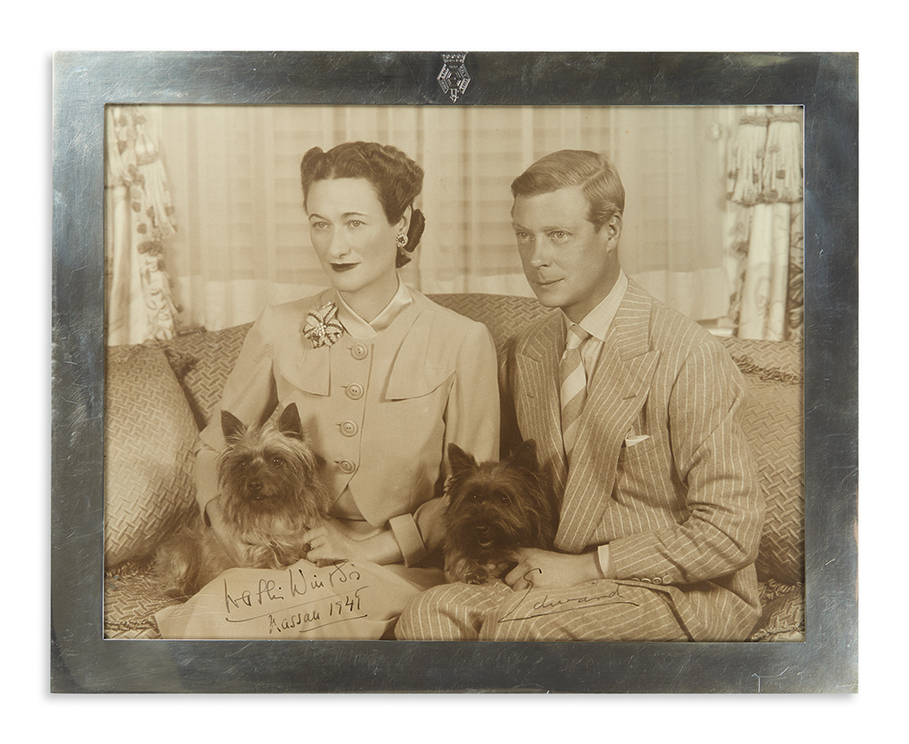 WINDSOR, EDWARD; DUKE OF; AND WALLIS; DUCHESS OF. Photograph Signed, by both (Edward and Wallis Windsor / Nassau 1941),