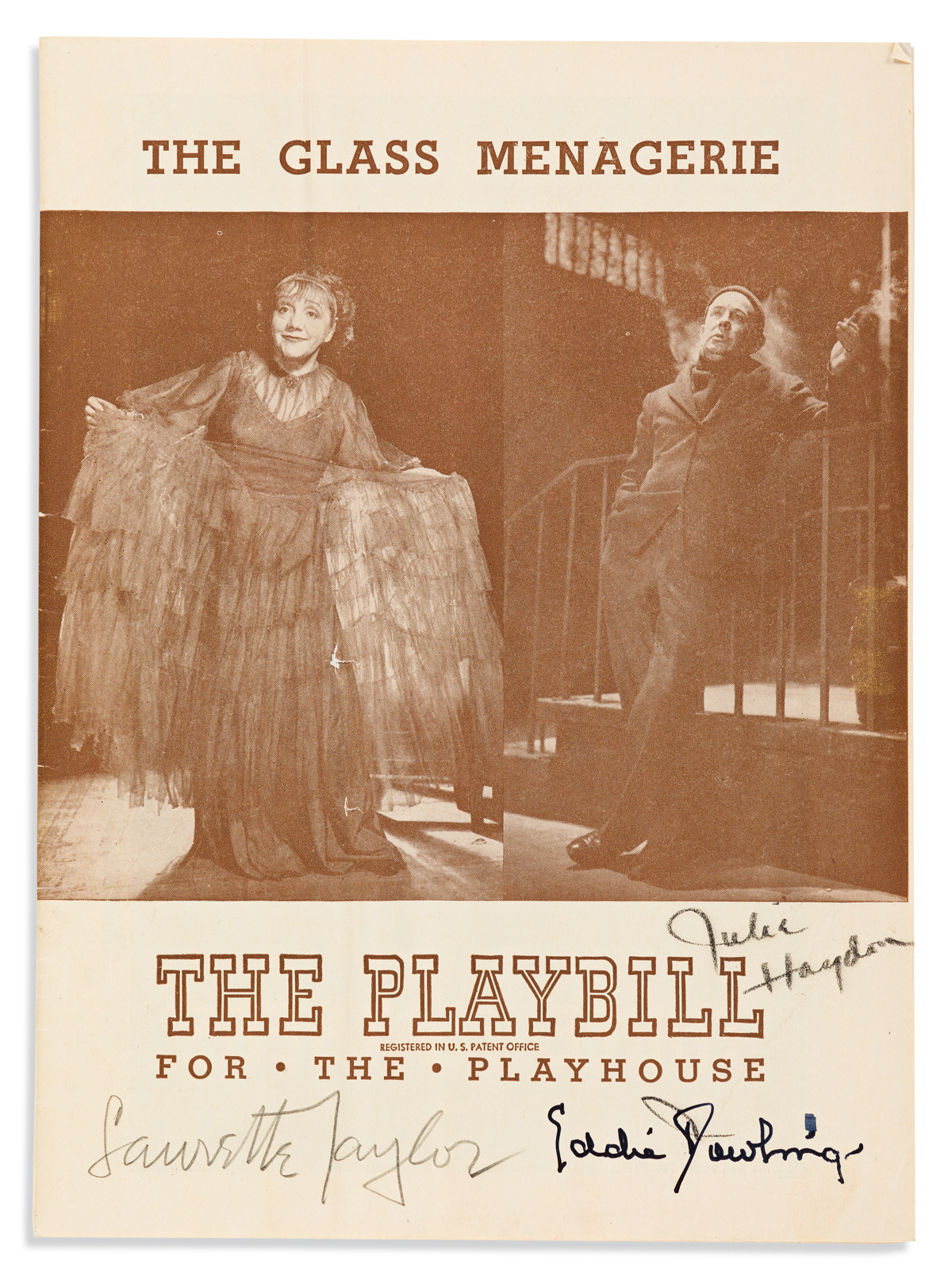 (PLAYBILLS.) Playbill from the 1945 Broadway production of The Glass Menagerie, Signed on the cover by Laurette Taylor, Julie Haydon, a