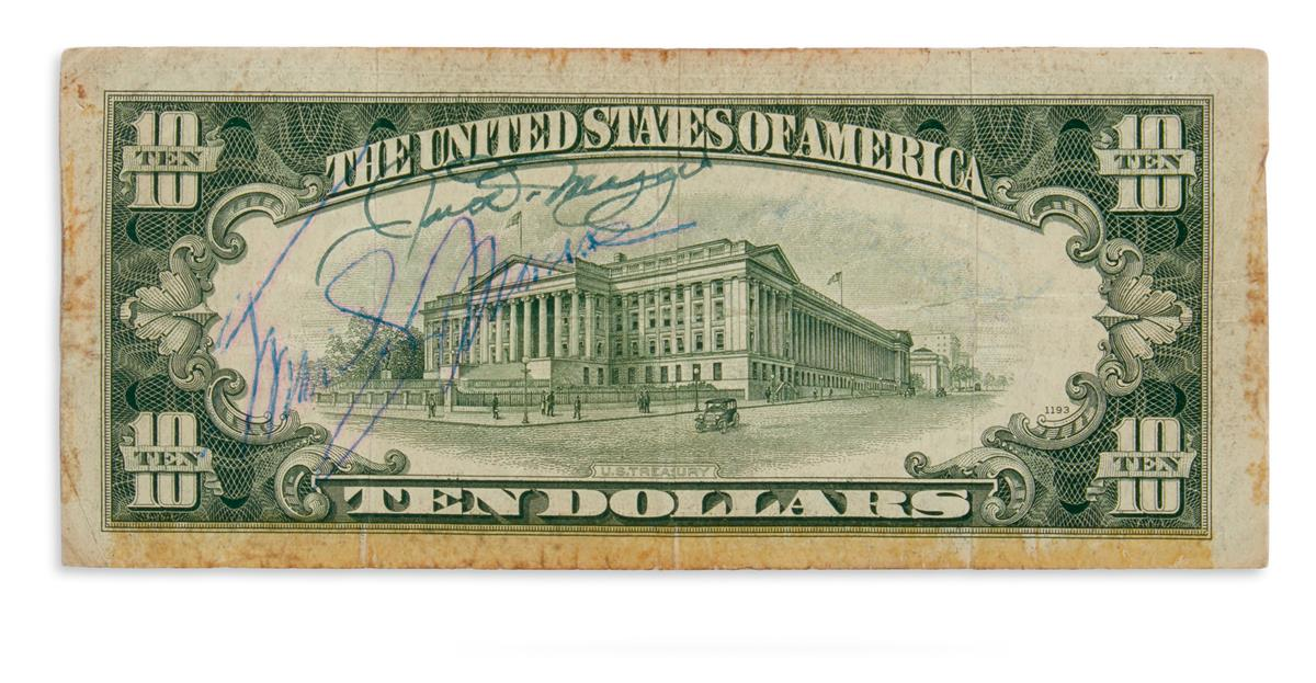 MARILYN MONROE; AND JOE DIMAGGIO. Ten dollar bank note Signed, by both, in blue or green ink, at left above imag...
