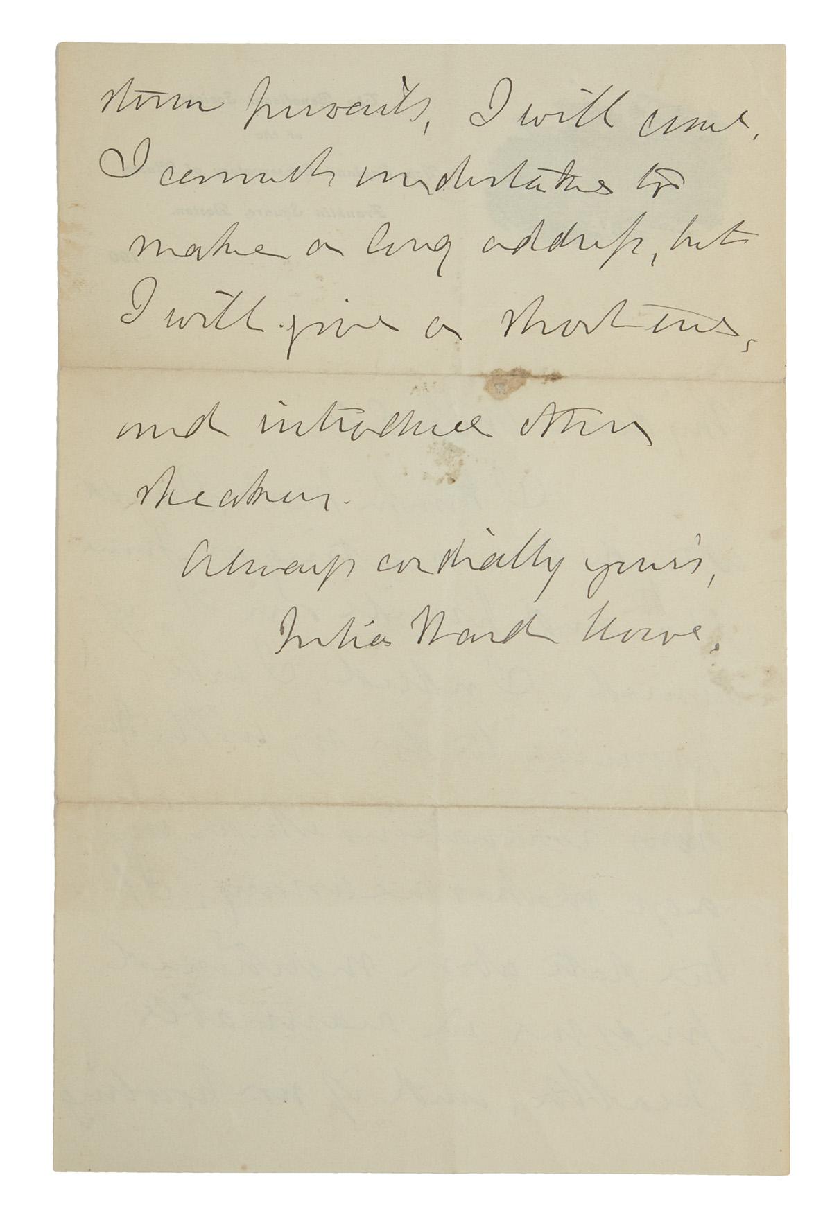 HOWE-JULIA-WARD-Autograph-Letter-Signed-to-My-dear-Miss-Elli