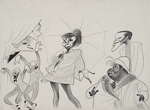 Hallelujah, Baby!: Leslie Uggams, Alan Weeks and others. Pen and ink on board, 17x 29 inches. Signed lower right. 1967.