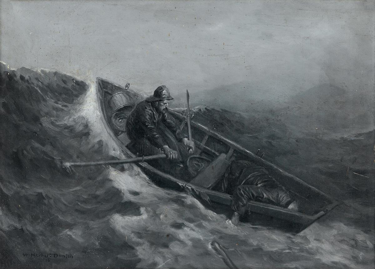 SEAFARING WILLIAM HERBERT DUNTON. He saw the body fall off of the seat and into the bottom of the dory.