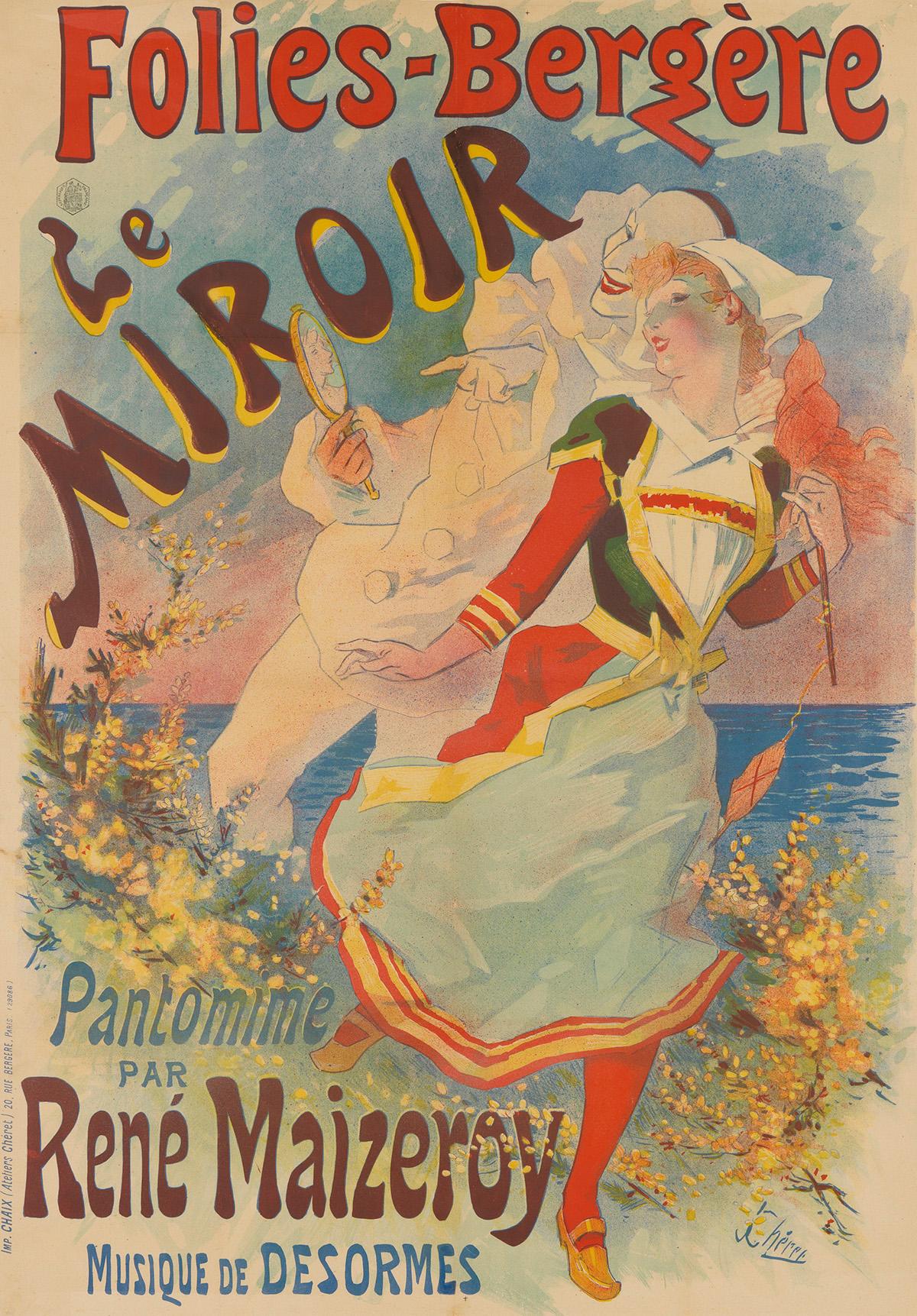 JULES CHÉRET (1836-1932).  FOLIES - BERGÈRE / LE MIROIR. Circa 1892. 46¾x32¾ inches, 118¾x83¼ cm. Chaix, Paris.