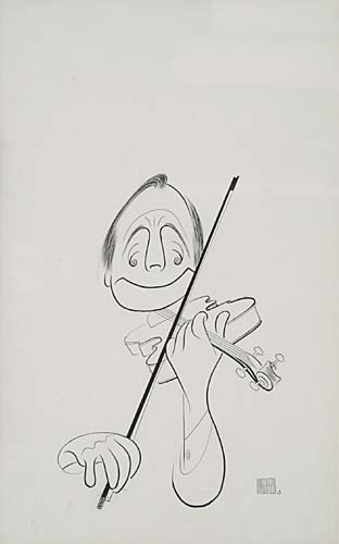 Jack Benny with Violin. Pen and Ink on board, 24x15 inches, matted. Signed lower right. 1968.