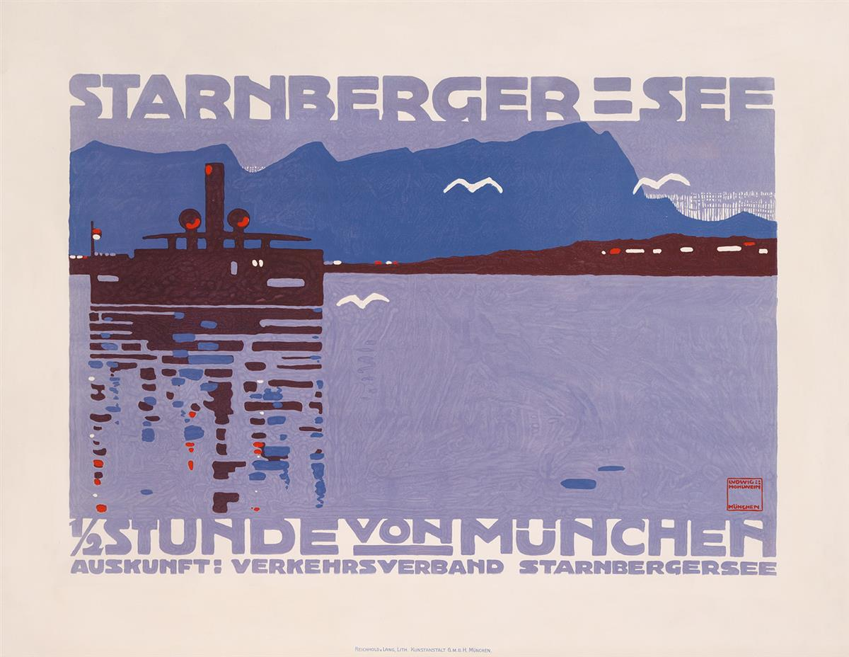 LUDWIG HOHLWEIN (1874-1949). STARNBERGER = SEE. 1910. 37x48 inches, 94x122 cm. Reichhold & Lang, Munich.