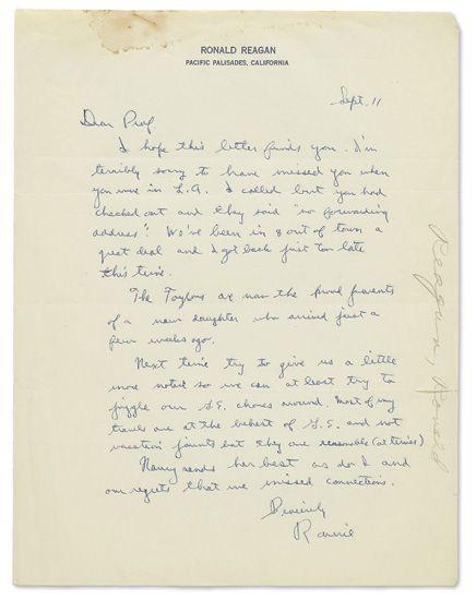REAGAN, RONALD. Autograph Letter Signed, Ronnie, to American Psychologist John Dollard (Dear Prof.),