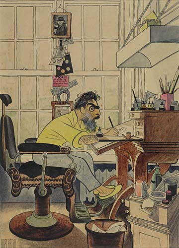 Self-Portrait in Barber Chair. Gouache and ink on board, 11x8 inches. Signed lower left. Circa 1957.