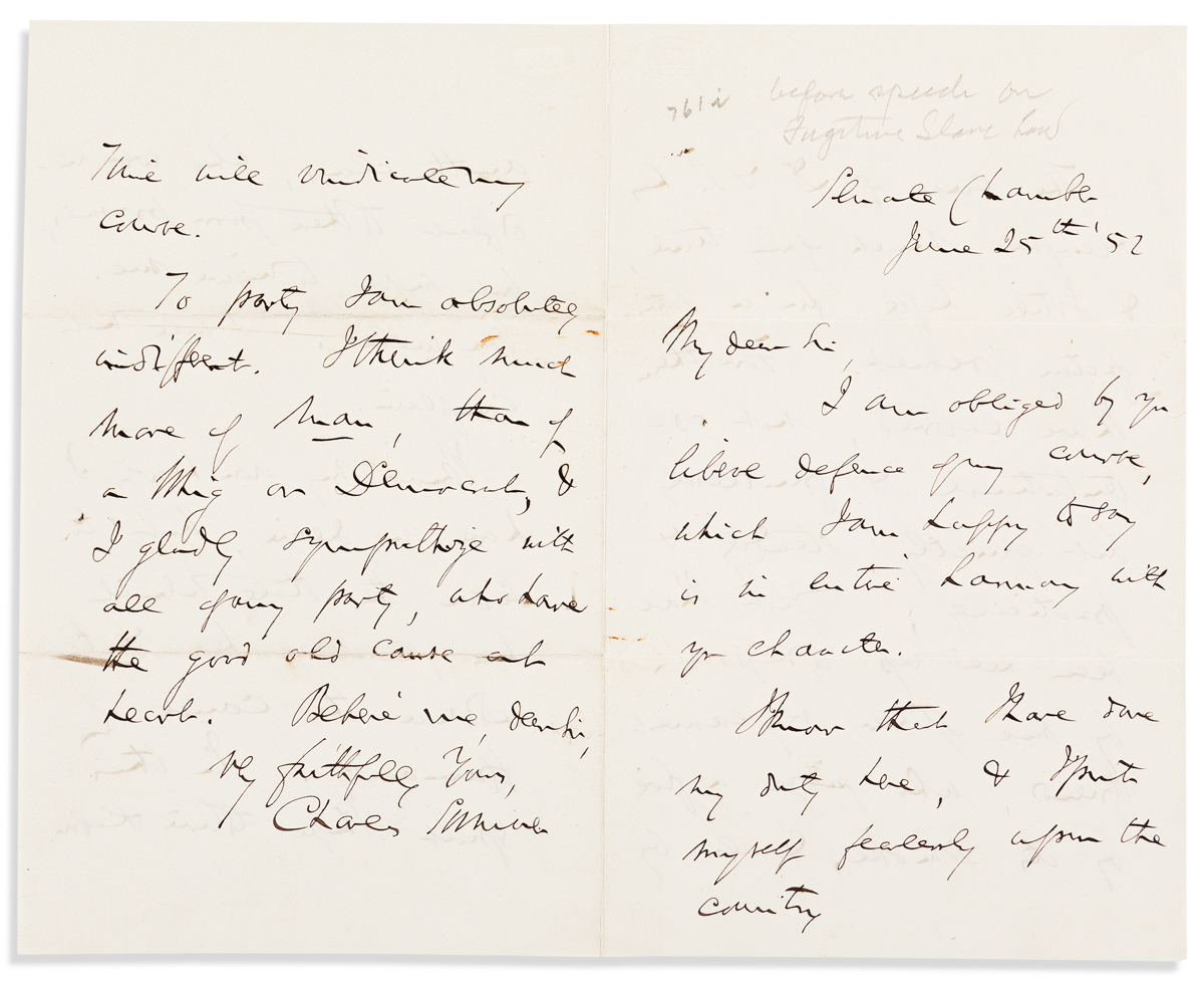 SUMNER, CHARLES. Autograph Letter Signed, to an unnamed recipient (My dear Sir),