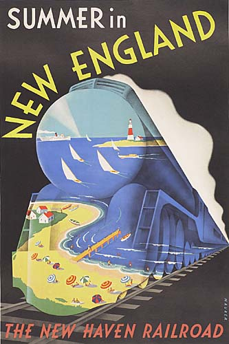 SASCHA MAURER.  SUMMER IN NEW ENGLAND / NEW HAVEN RAILROAD. Circa 1938. 42x28 inches. Latham Litho Co., Long Island City.
