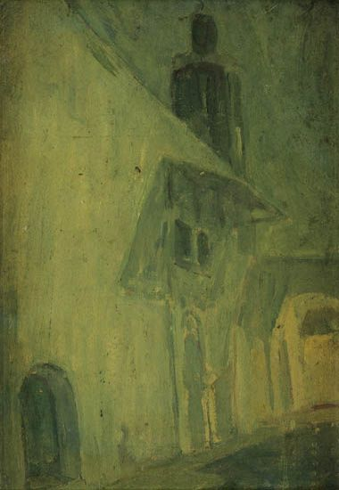 HENRY-OSSAWA-TANNER-(1859---1937)-The-House-(Wall)-in-Blue