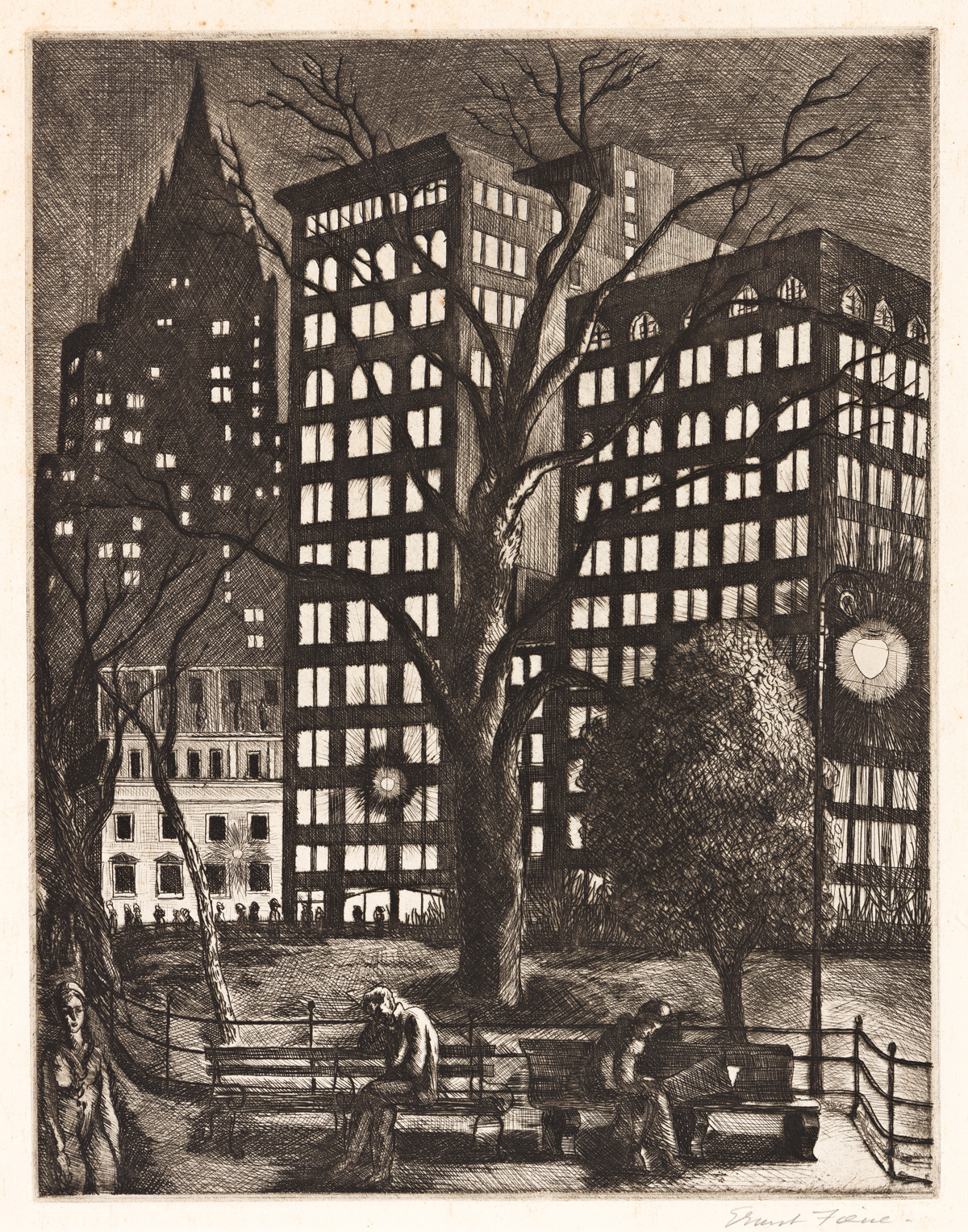 ERNEST FIENE (1894-1965) City Lights (Madison Square Park, New York).