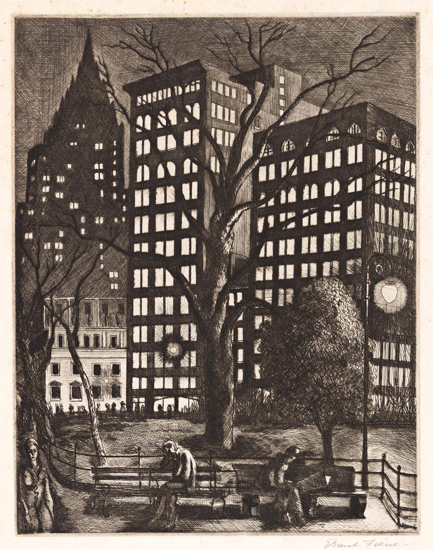 ERNEST FIENE (1894-1965) City Lights (Madison Square Park, New York).