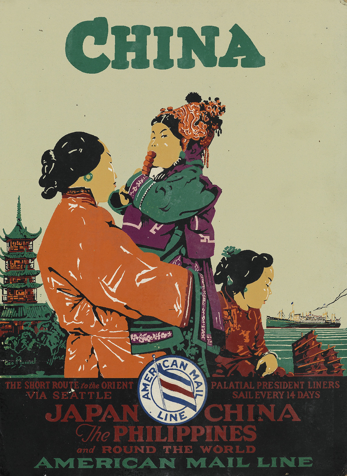 VARIOUS-ARTISTS-[EAST-ASIA-TRAVEL]-Group-of-3-window-cards-S