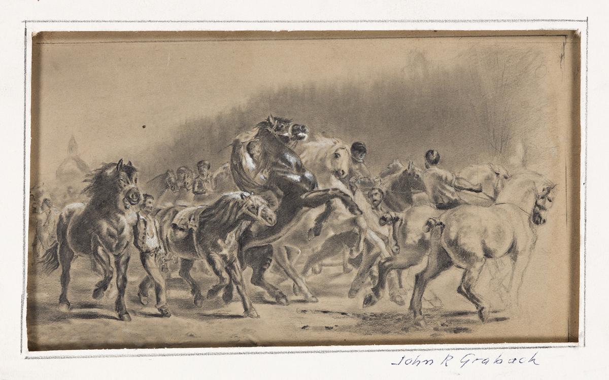 JOHN GRABACH Three early pencil drawings.