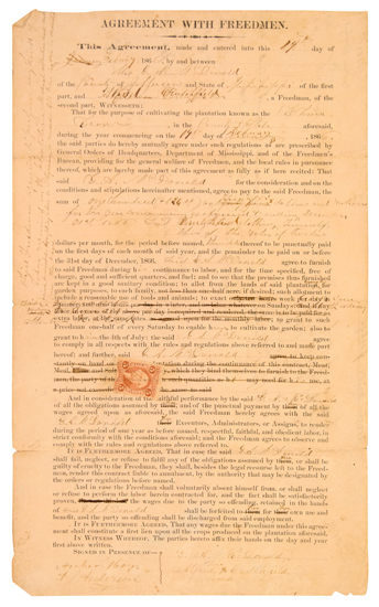 (SLAVERY AND ABOLITION--RECONSTRUCTION.) Freedmans Contract.