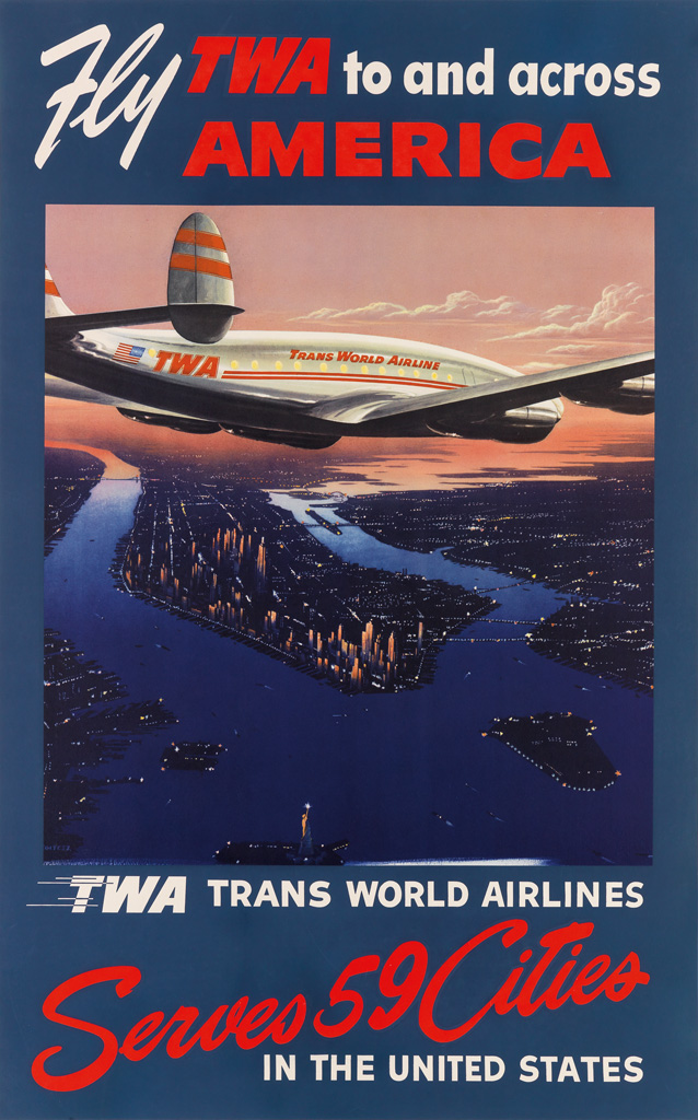 FRANK SOLTESZ (1912-1998). FLY TWA TO AND ACROSS AMERICA. Circa 1952. 39x25 inches, 101x63 cm.