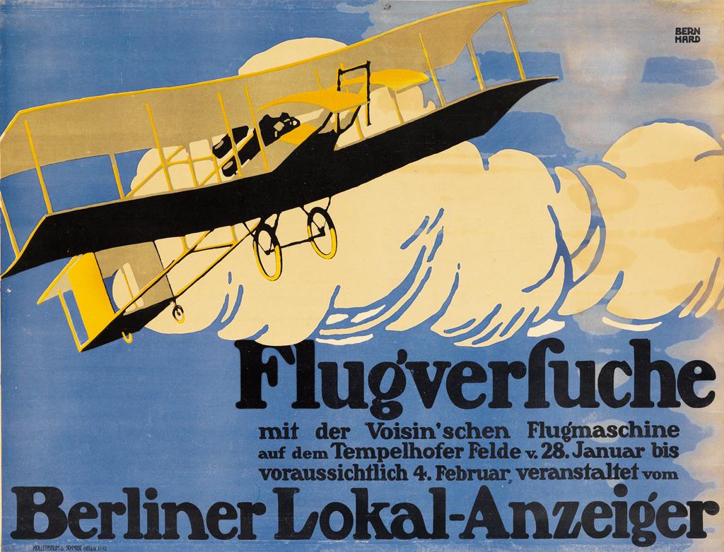 LUCIAN BERNHARD (1883-1972). FLUGVERFUCHE / BERLINER LOKAL - ANZEIGER. 1909. 27x36 inches, 61x93 cm. Hollerbaum & Schmidt, Berlin.