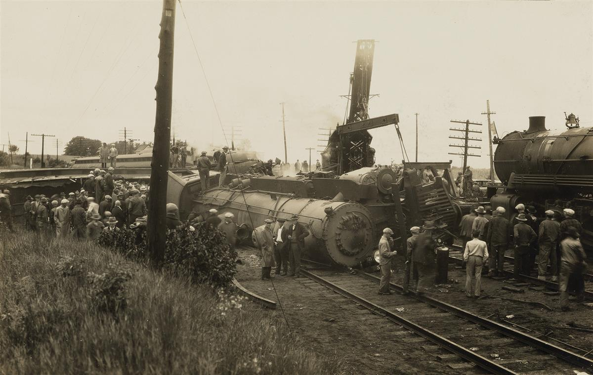 (TRAIN-WRECKS)-A-suite-of-10-photographs-of-American-train-d