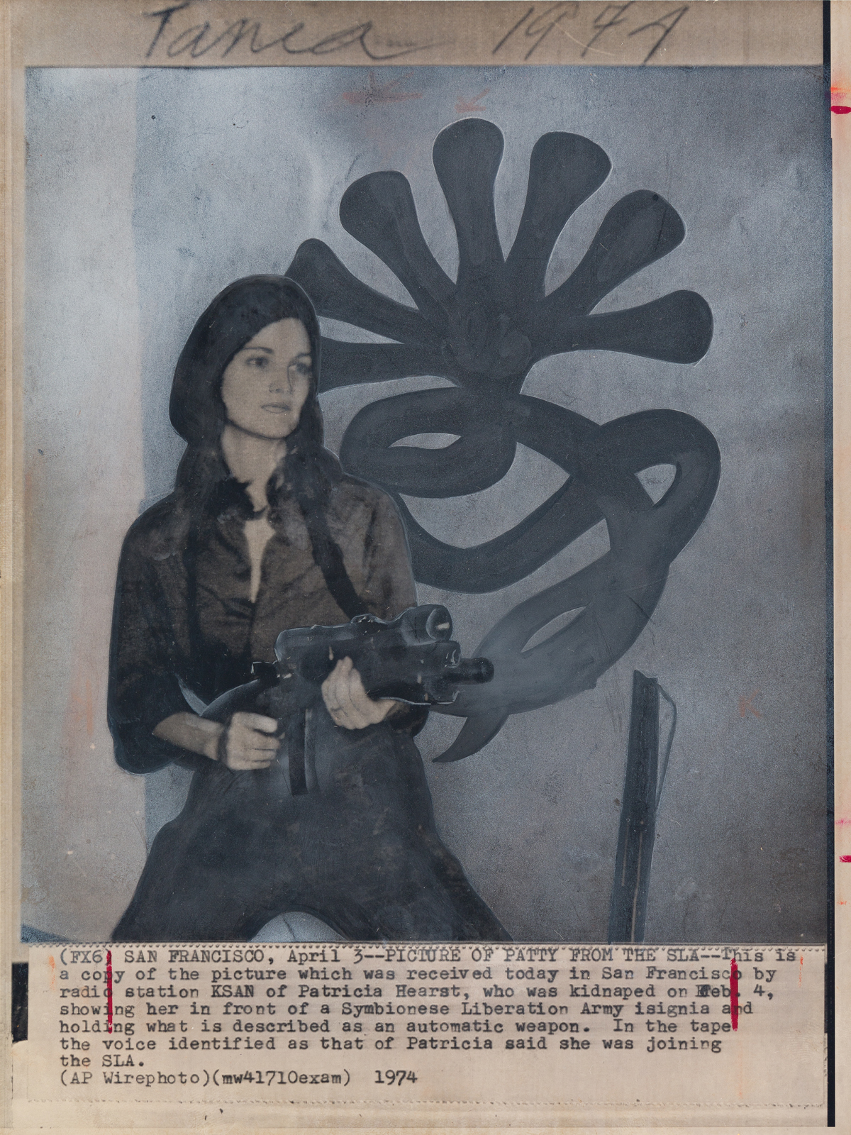 (SLA & PATTY HEARST) Two press photographs of Patty Hearst, one from the Symbionese Liberation Army and the other during her trial.