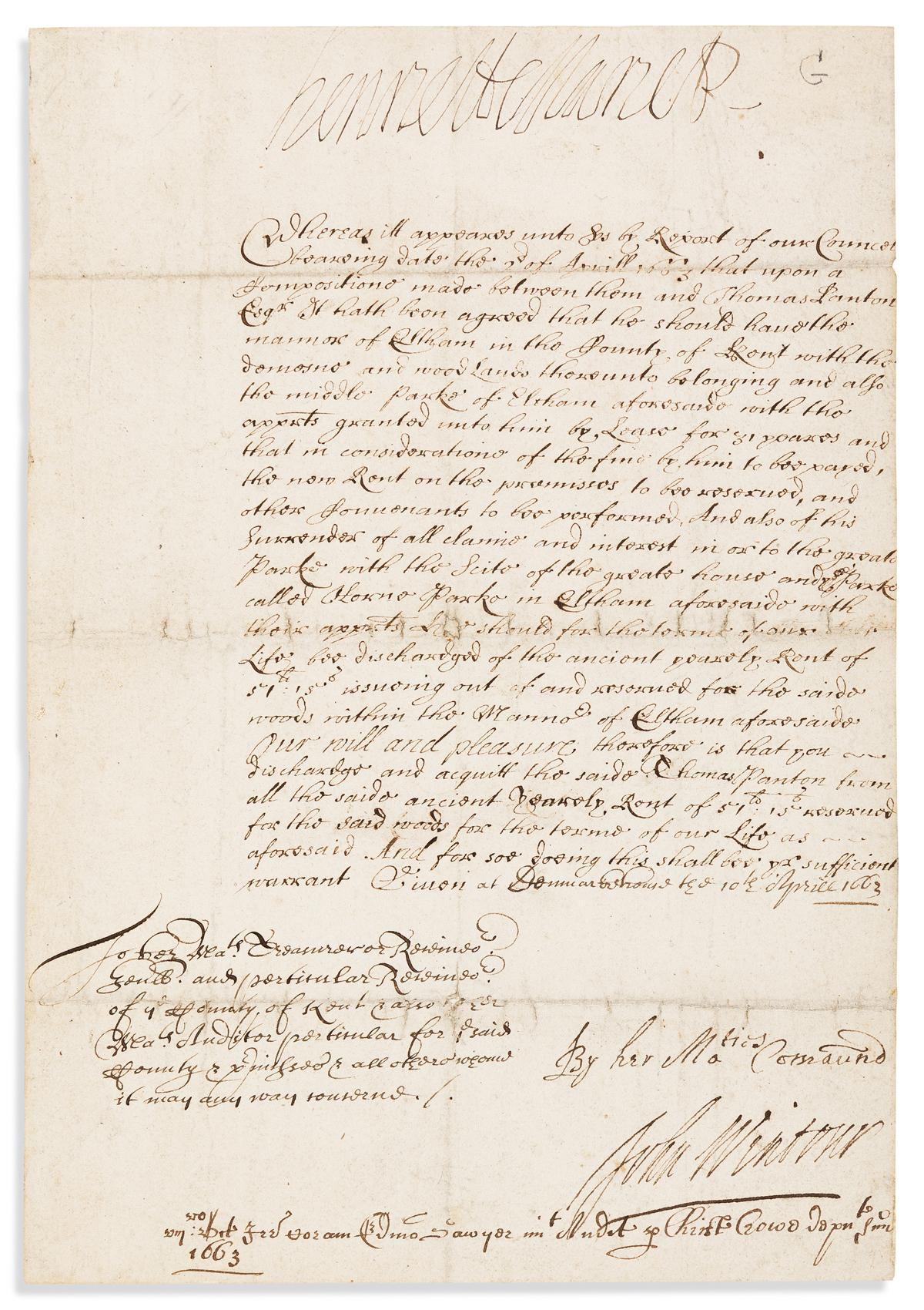 HENRIETTA MARIA; QUEEN OF CHARLES I OF ENGLAND. Document Signed, HenriettaMariaR,