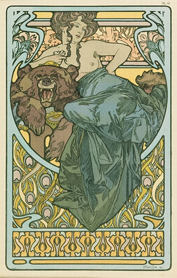 ALPHONSE-MUCHA-(1860-1939)-[WOMAN-AND-BEAR]-Documents-Décora