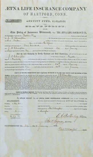 (SLAVERY AND ABOLITION.) AETNA INSURANCE COMPANY. Aetna Insurance Company of Hartford, Conn. Annuity Fund $150,000: Slave Policy.