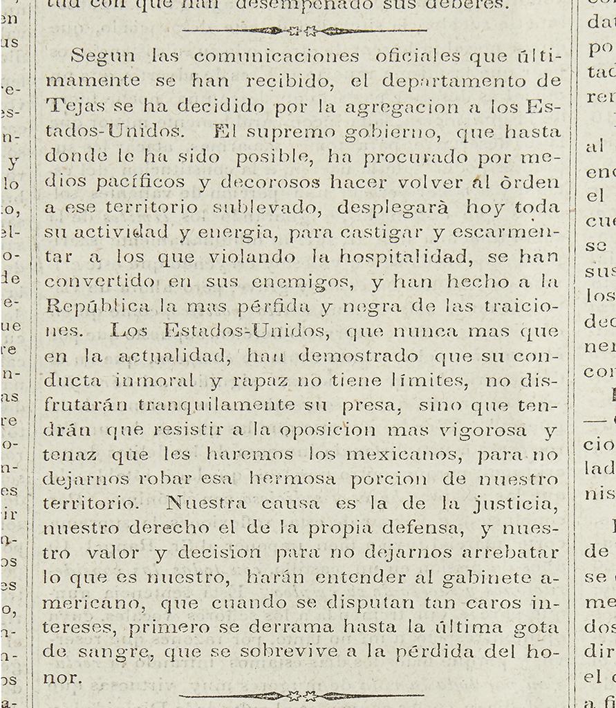 (TEXAS.) Diario del Gobierno de la Republica Mexicana.