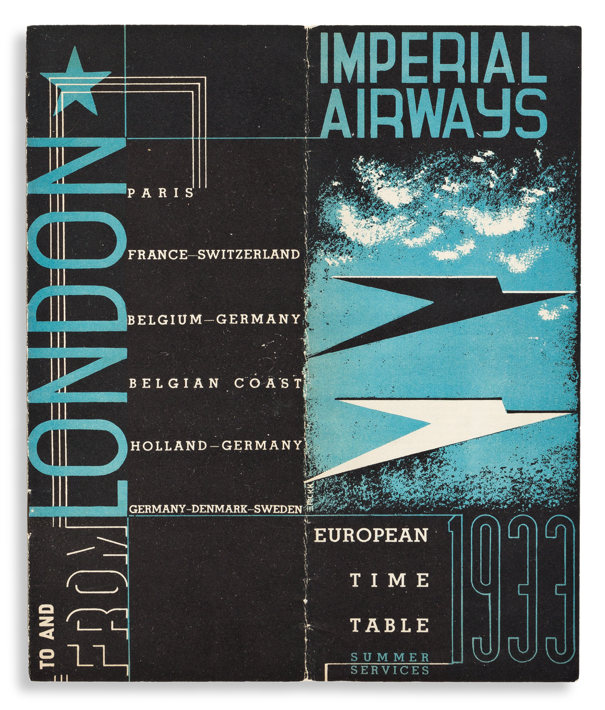 EDWARD MCKNIGHT KAUFFER (1890-1954).  IMPERIAL AIRWAYS. Group of 7 folded timetables. 1930s. Sizes vary.