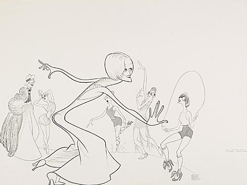 The Boy Friend, with Twiggy and Thum Friends. Pen and Ink on board, 21 x 29 inches. Signed lower right. 1971.