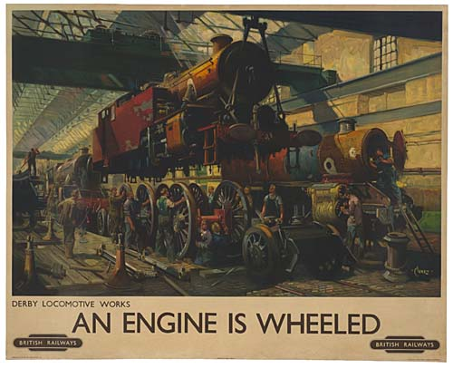 TERRENCE CUNEO AN ENGINE IS WHEELED. 39x49 inches.