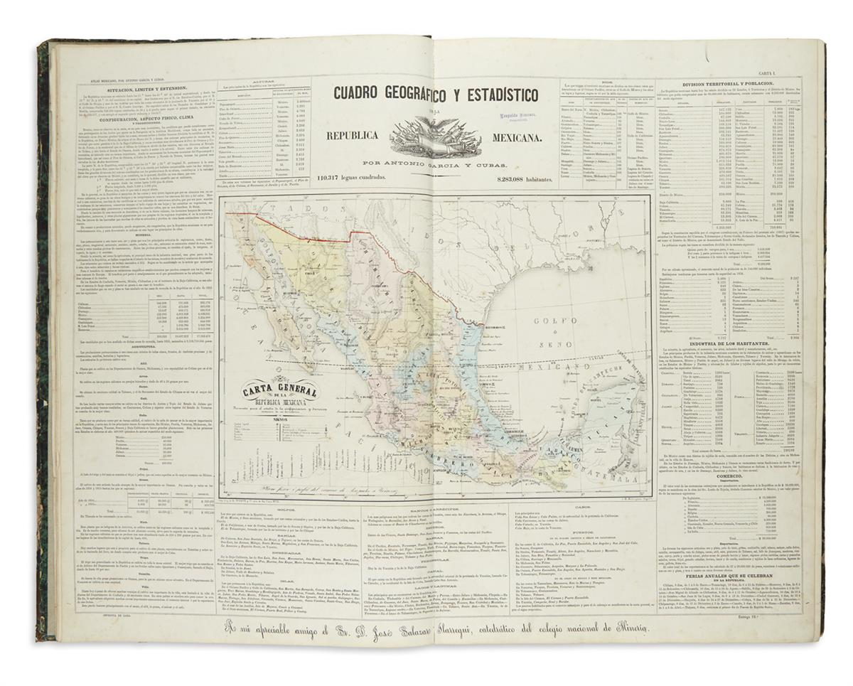 (MEXICO.) García y Cubas, Antonio. Atlas Geográfico, Estadístico é Histórico de la República Mexicana.