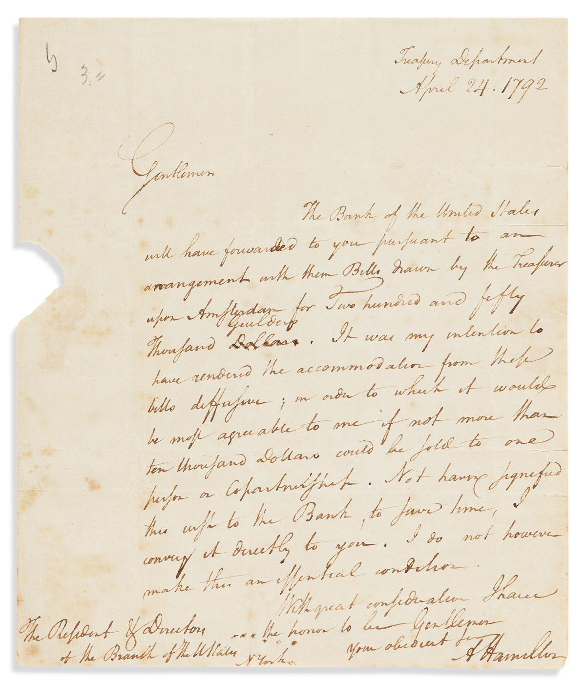 HAMILTON, ALEXANDER. Autograph Letter Signed, AHamilton, as Secretary of the Treasury, to the president and directors of the New York
