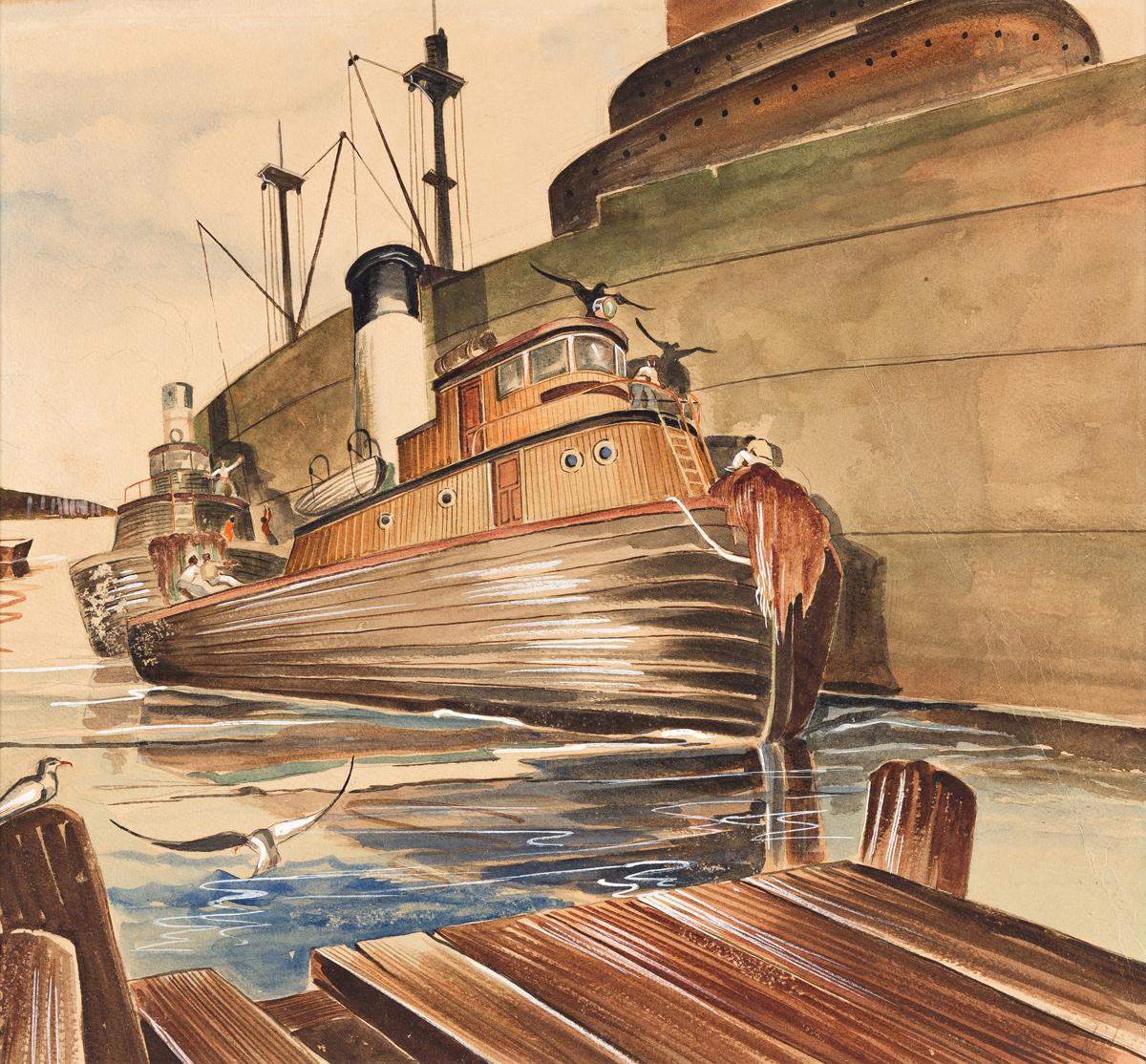ROBERT NEAL (1916 - 1987) Untitled (Dock Scene).