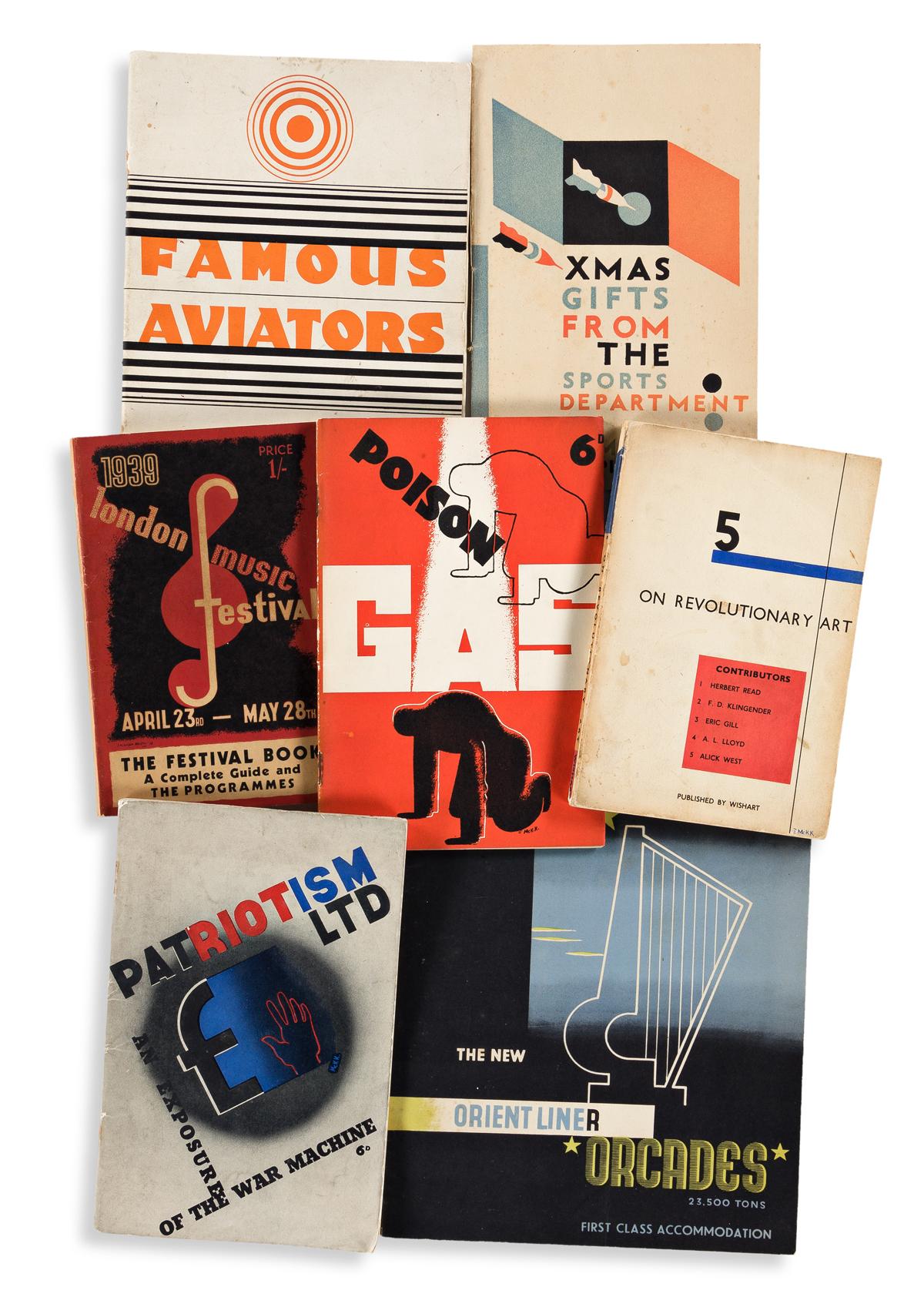 EDWARD MCKNIGHT KAUFFER (1890-1954).  [ART DECO GRAPHICS.] Group of 7 pamphlets. 1930s. Sizes vary.