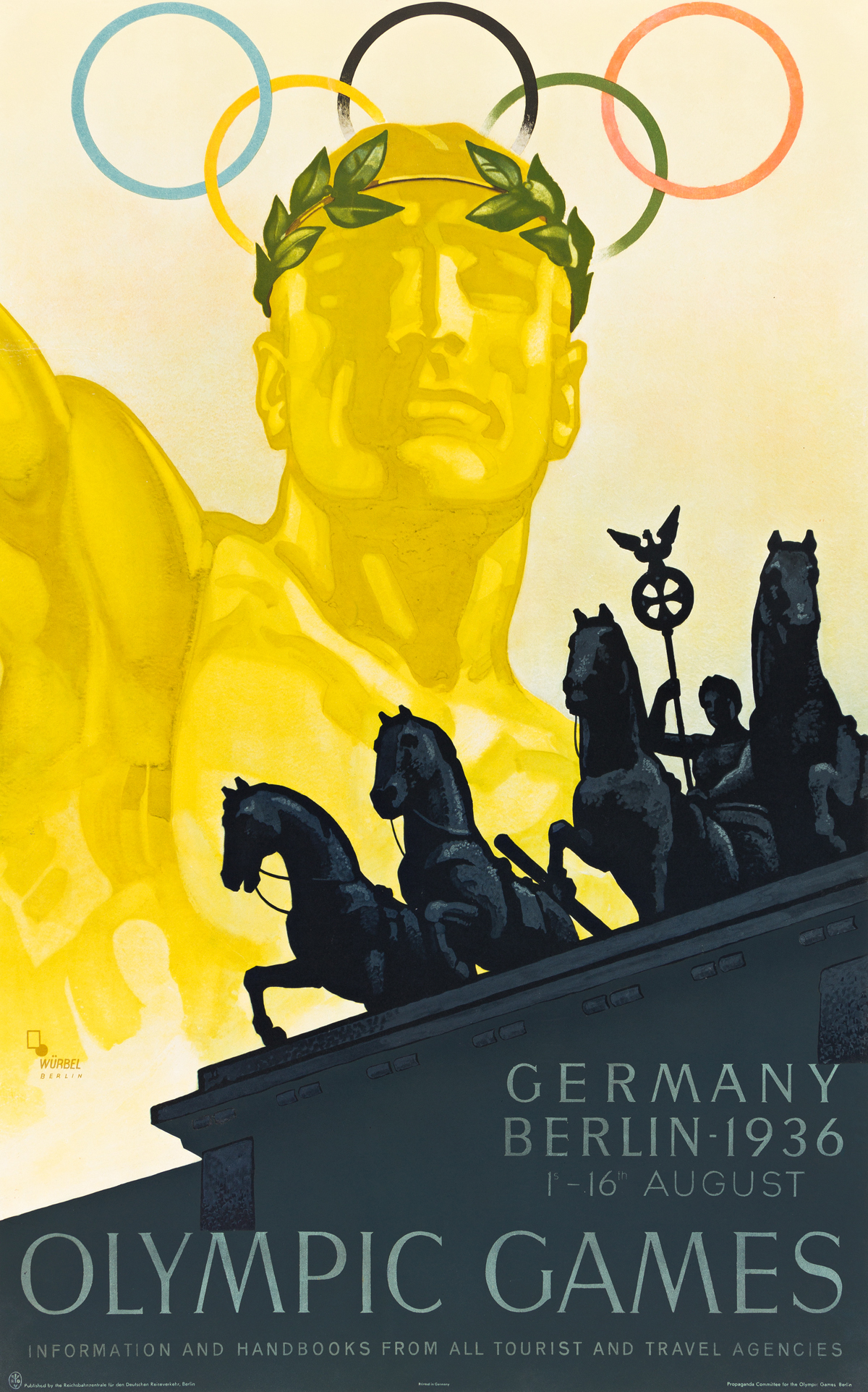 FRANZ WÜRBEL (1896-?).  OLYMPIC GAMES / BERLIN. 1936. 39¾x24¼ inches, 101x61½ cm. Reichsbahnzentrale fur den Deutschen Reiseverkehr, Be