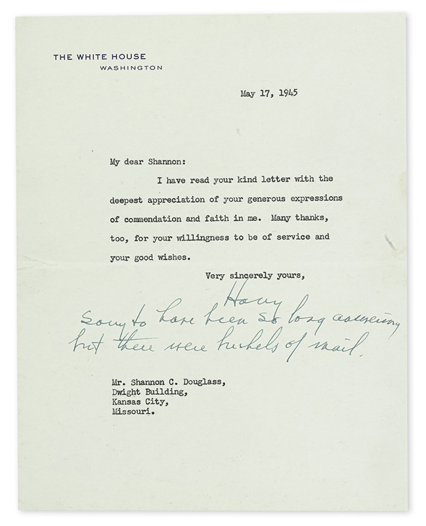 TRUMAN, HARRY S. Archive of 27 Typed Letters Signed, Harry or in full, including 12 as President, a few with brief holograph postscri